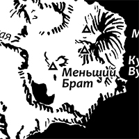 Map of Iturup with hand drawn terrain.